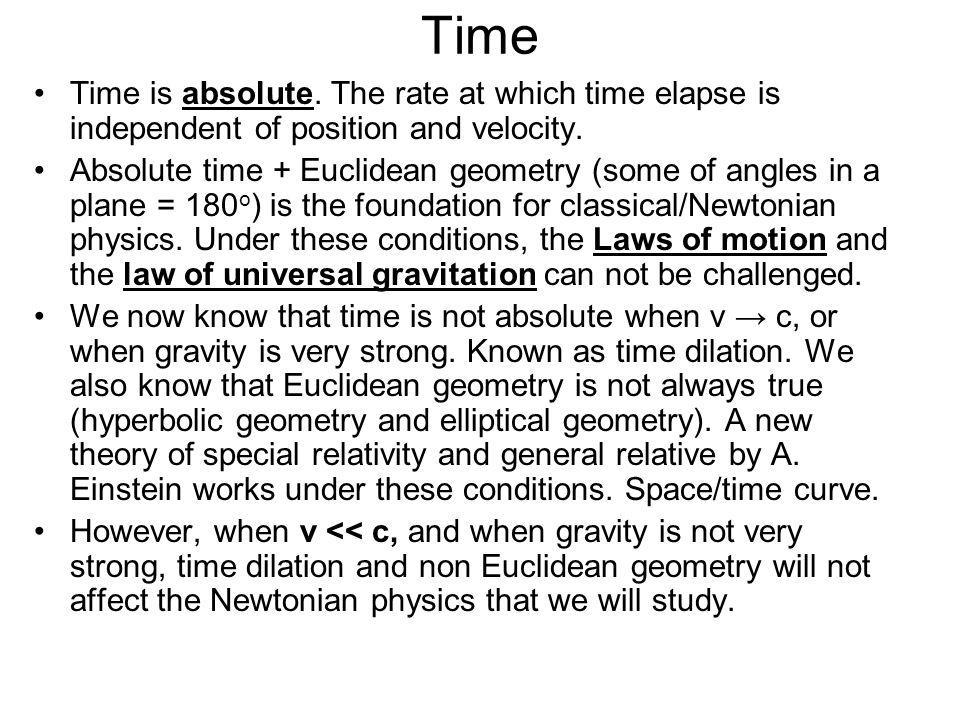 Time Time is absolute. The rate at which time elapse is independent of position and velocity.
