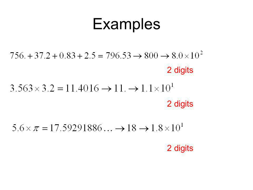 Examples 2 digits