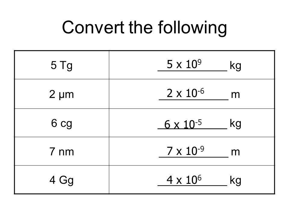 Convert the following 5 Tg ___________ kg 2 μm ___________ m 6 cg ___________ kg 7 nm ___________ m 4 Gg ___________ kg 5 x 10 9 2 x 10 -6 6 x 10 -5 7 x 10 -9 4 x 10 6