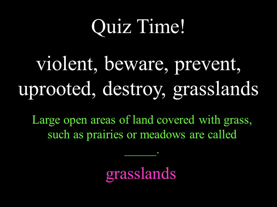 Quiz Time! violent, beware, prevent, uprooted, destroy, grasslands Large open areas of land covered with grass, such as prairies or meadows are called