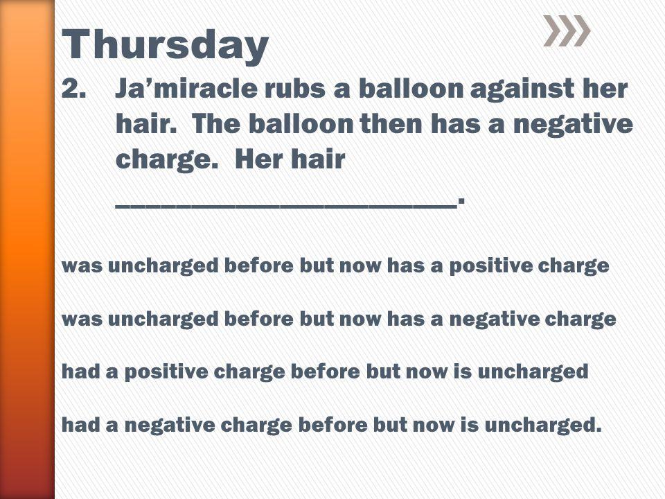 Thursday 2.Ja'miracle rubs a balloon against her hair.