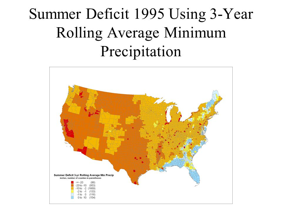 Summer Deficit 1995 Using 3-Year Rolling Average Minimum Precipitation