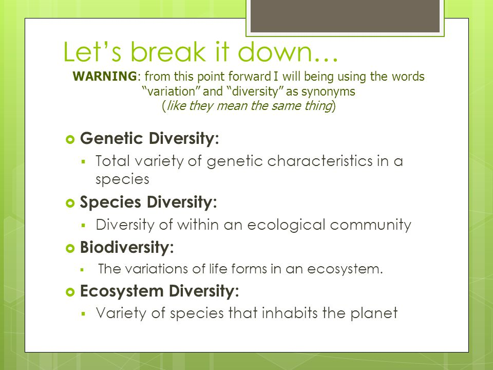 Let's break it down…  Genetic Diversity:  Total variety of genetic characteristics in a species  Species Diversity:  Diversity of within an ecological community  Biodiversity:  The variations of life forms in an ecosystem.