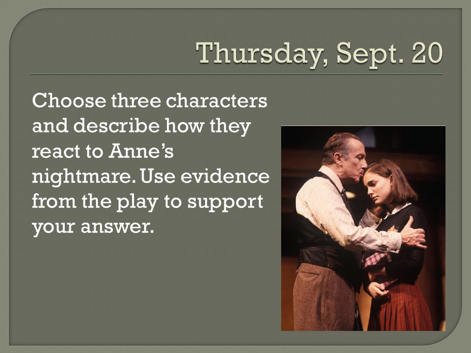 Choose three characters and describe how they react to Anne's nightmare. Use evidence from the play to support your answer.