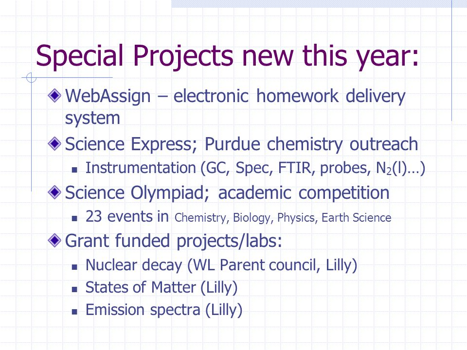 Special Projects new this year: WebAssign – electronic homework delivery system Science Express; Purdue chemistry outreach Instrumentation (GC, Spec,