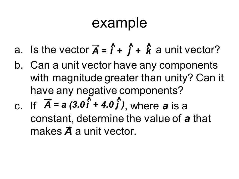 example a.Is the vector a unit vector? b.Can a unit vector have any components with magnitude greater than unity? Can it have any negative components?