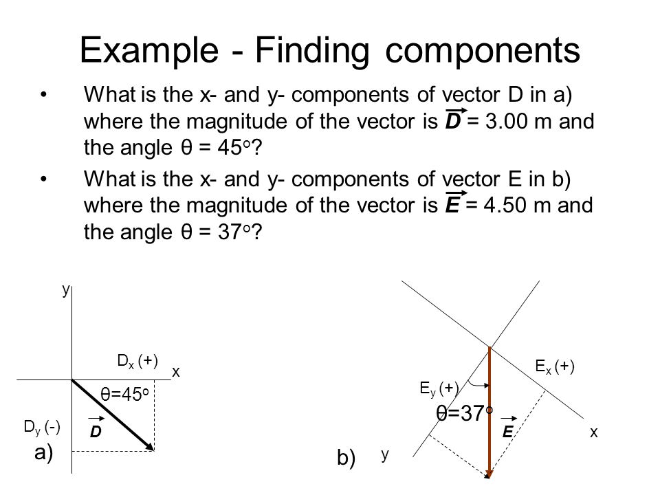 Example - Finding components What is the x- and y- components of vector D in a) where the magnitude of the vector is D = 3.00 m and the angle θ = 45 o