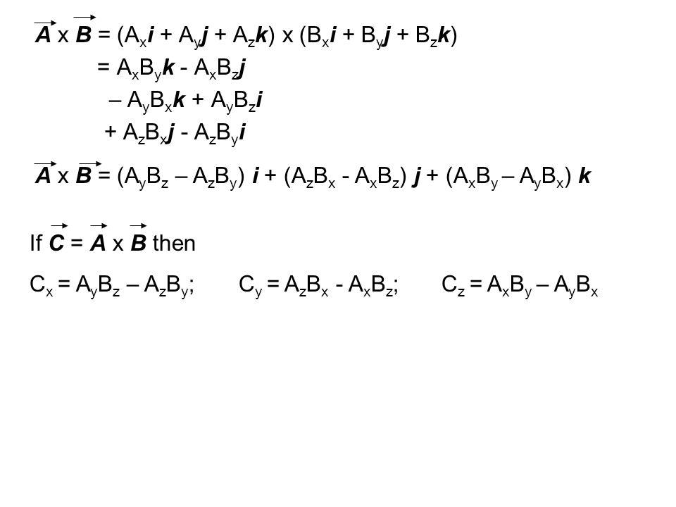 A x B = (A x i + A y j + A z k) x (B x i + B y j + B z k) = A x B y k - A x B z j – A y B x k + A y B z i + A z B x j - A z B y i A x B = (A y B z – A