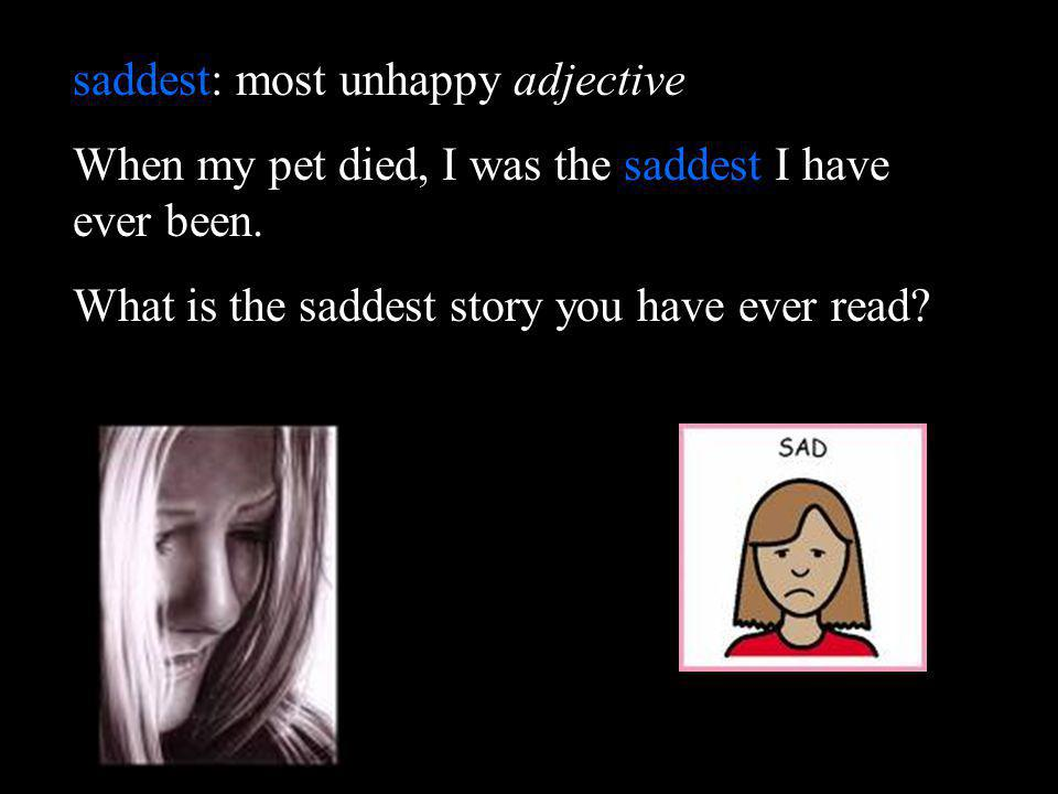 saddest: most unhappy adjective When my pet died, I was the saddest I have ever been. What is the saddest story you have ever read?
