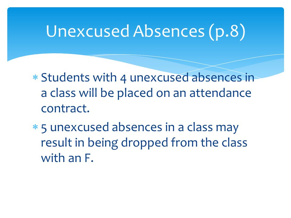  Students with 4 unexcused absences in a class will be placed on an attendance contract.