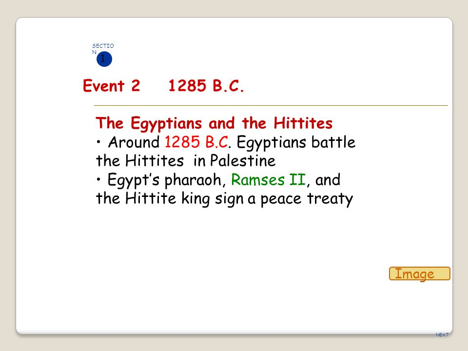 NEXT The Egyptians and the Hittites Around 1285 B.C. Egyptians battle the Hittites in Palestine Egypt's pharaoh, Ramses II, and the Hittite king sign