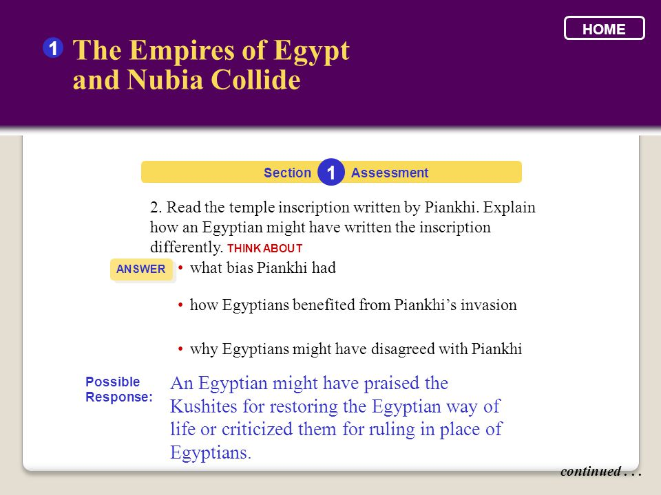 2. Read the temple inscription written by Piankhi. Explain how an Egyptian might have written the inscription differently. THINK ABOUT Section The Emp