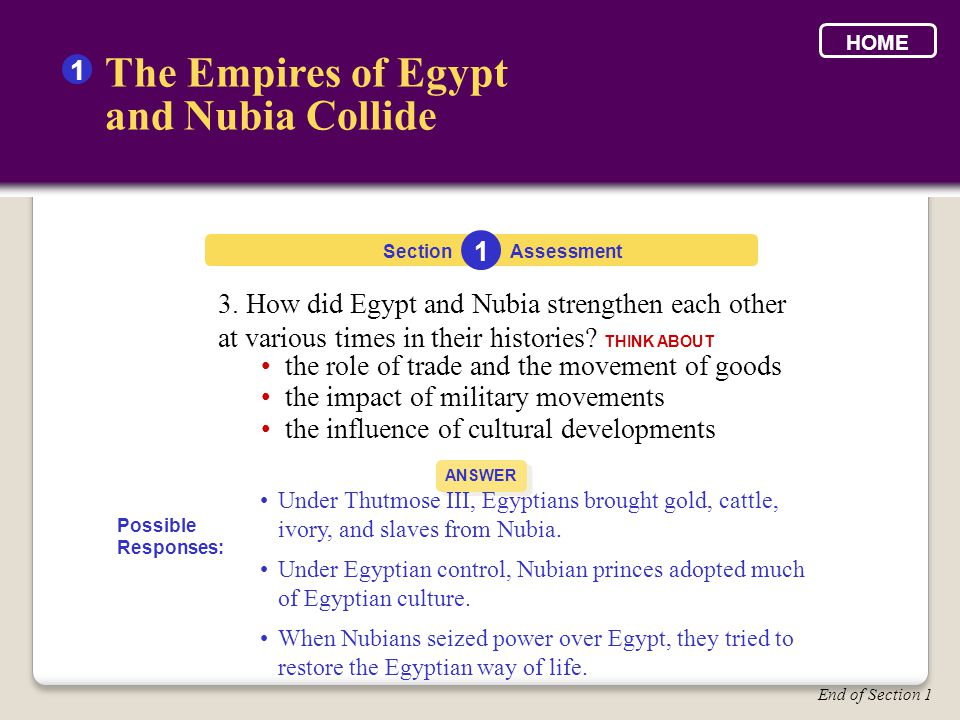 3. How did Egypt and Nubia strengthen each other at various times in their histories? THINK ABOUT Section The Empires of Egypt and Nubia Collide 1 1 A