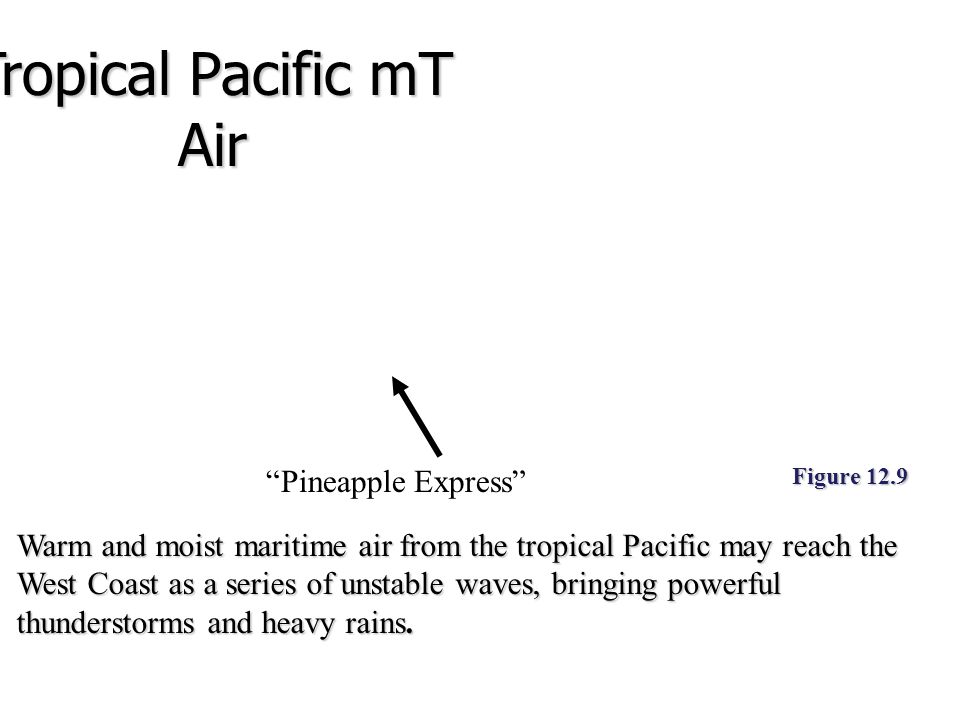 Figure 12.9 Warm and moist maritime air from the tropical Pacific may reach the West Coast as a series of unstable waves, bringing powerful thundersto