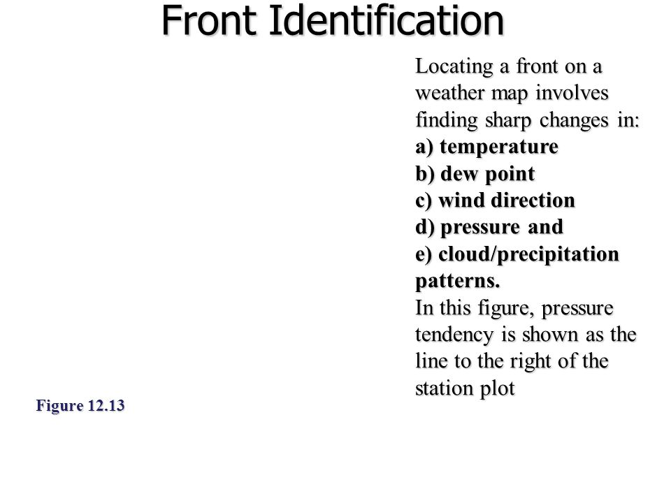 Front Identification Figure 12.13 Locating a front on a weather map involves finding sharp changes in: a) temperature b) dew point c) wind direction d) pressure and e) cloud/precipitation patterns.