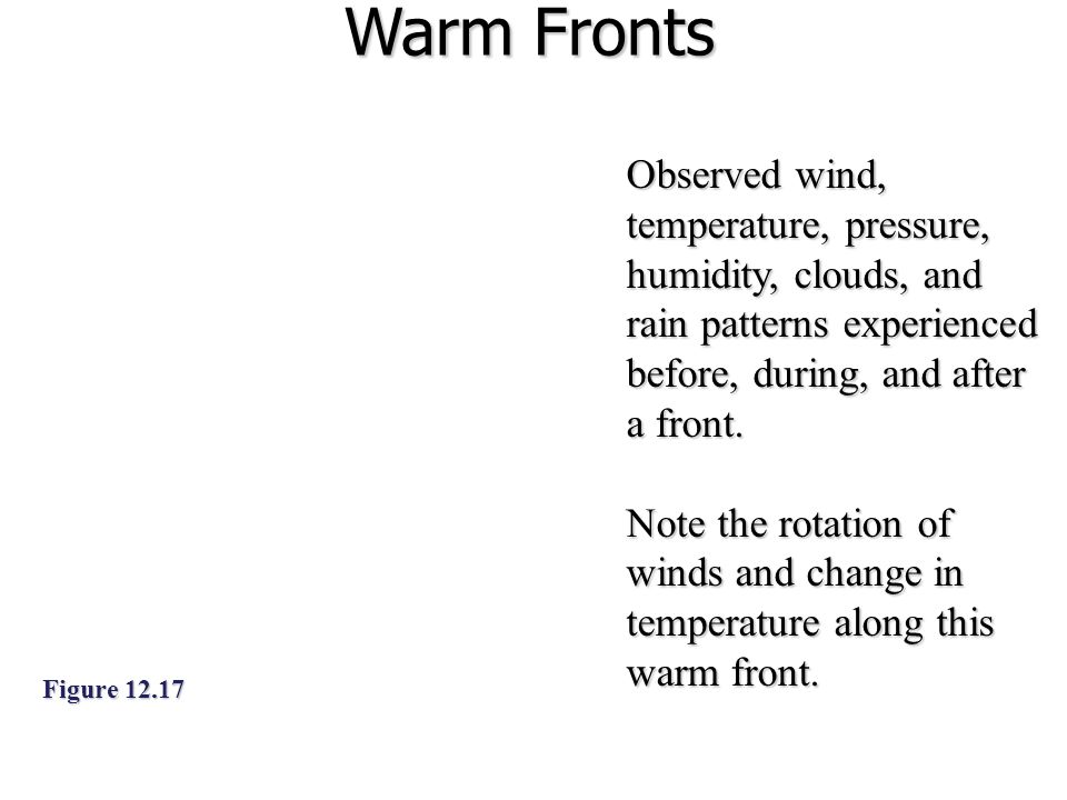 Warm Fronts Figure 12.17 Observed wind, temperature, pressure, humidity, clouds, and rain patterns experienced before, during, and after a front.