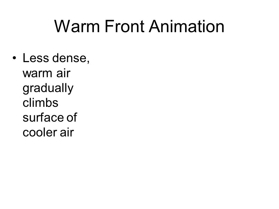 Warm Front Animation Less dense, warm air gradually climbs surface of cooler air