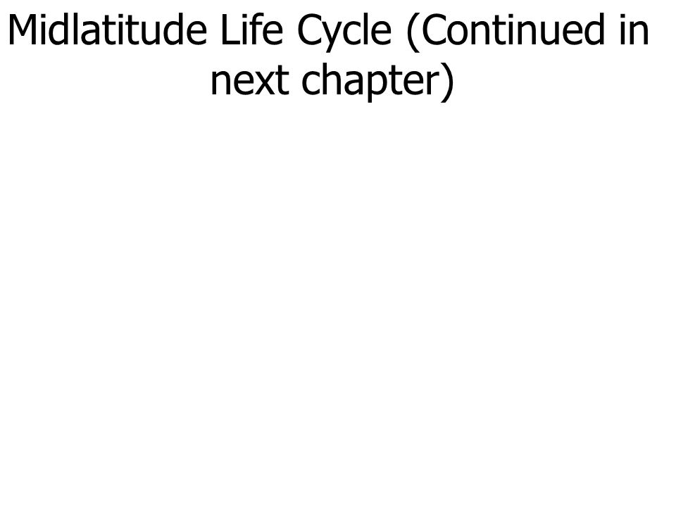 Midlatitude Life Cycle (Continued in next chapter)