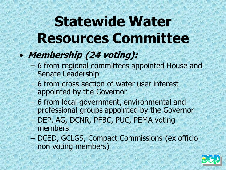 Statewide Water Resources Committee Purpose: –Recommend to the Secretary the approval and adoption of the State Water Plan, including the regional components