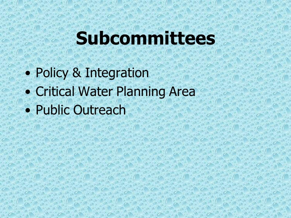 Statewide Water Resources Committee Membership (24 voting): –6 from regional committees appointed House and Senate Leadership –6 from cross section of
