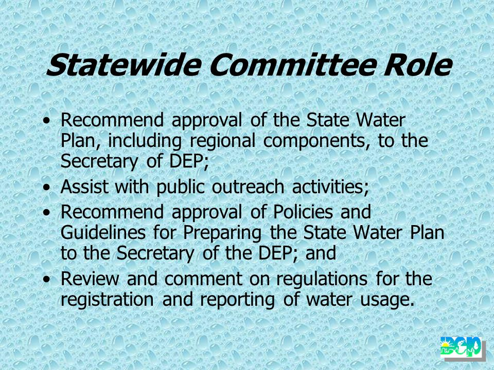Subcommittees Policy & Integration Critical Water Planning Area Public Outreach