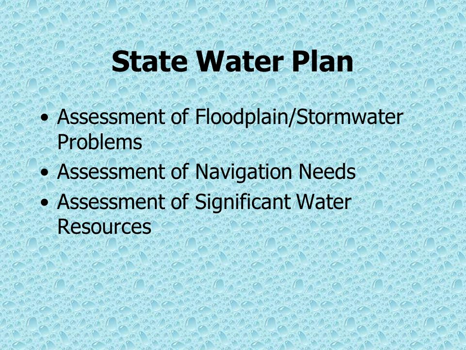 State Water Plan Inventory Water Resources (surface/GW/safe yield) Assessment/Projection of Future Use/Needs/ Demands Identify Potential Conflicts/Pro