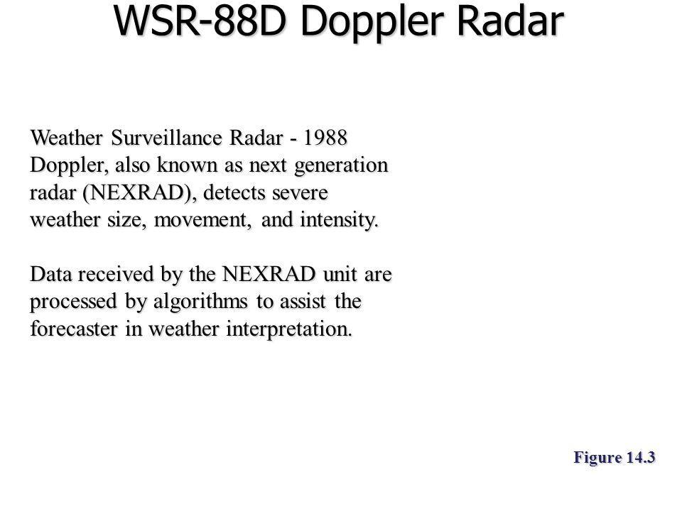 WSR-88D Doppler Radar Weather Surveillance Radar - 1988 Doppler, also known as next generation radar (NEXRAD), detects severe weather size, movement,