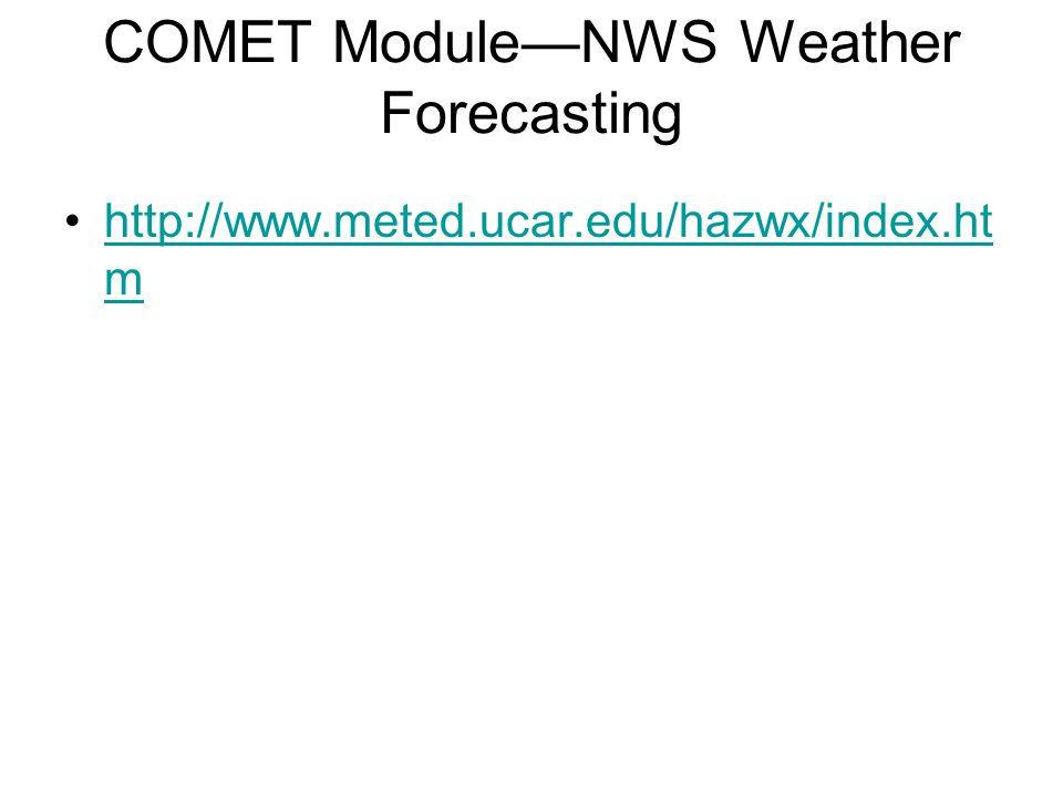 COMET Module—NWS Weather Forecasting http://www.meted.ucar.edu/hazwx/index.ht mhttp://www.meted.ucar.edu/hazwx/index.ht m
