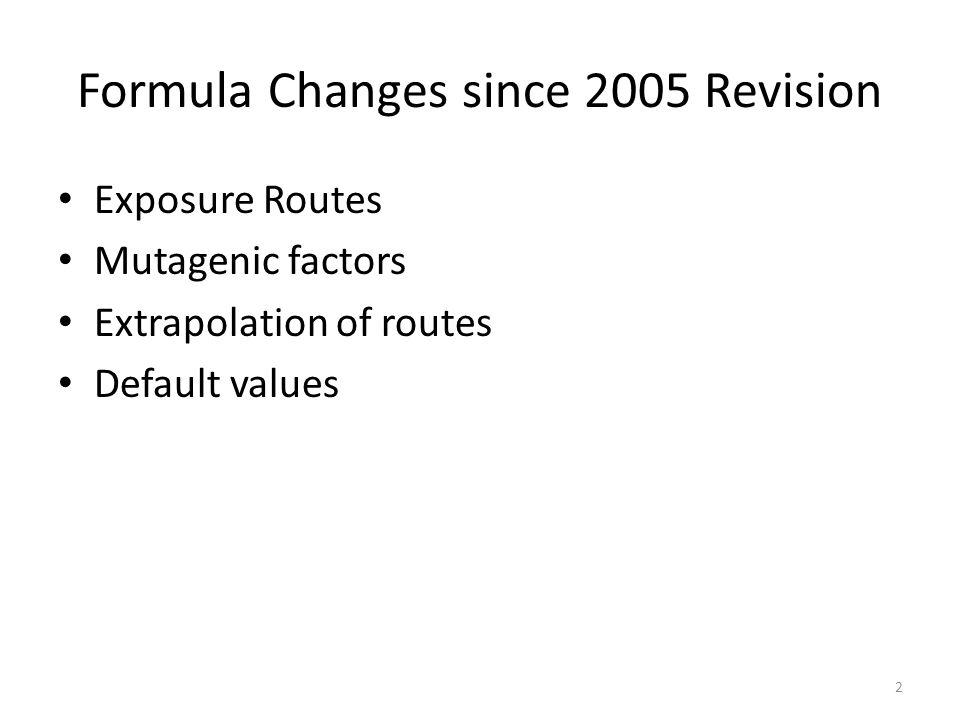 Formula Changes since 2005 Revision Exposure Routes Mutagenic factors Extrapolation of routes Default values 2
