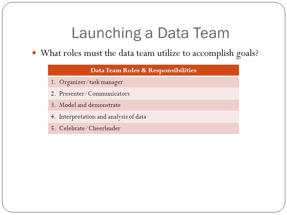 Launching a Data Team What roles must the data team utilize to accomplish goals.