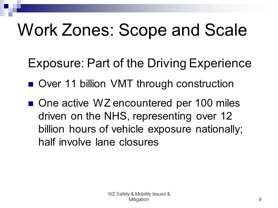 WZ Safety & Mobility Issues & Mitigation20 Improve Human Capital Work zone value chain: o Development o Design o Implementation o Operation o Inspection o Enforcement Training geared toward improved decisions Strategy: Meet the Challenge Systematically