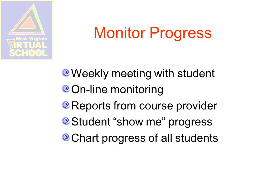 Monitor Progress Weekly meeting with student On-line monitoring Reports from course provider Student show me progress Chart progress of all students