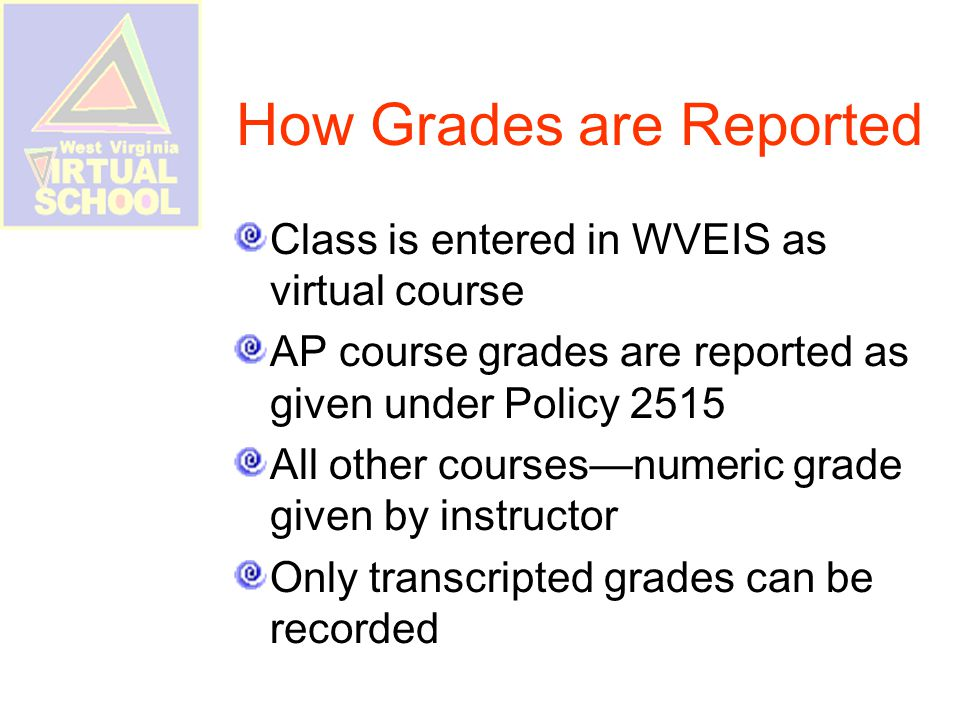 How Grades are Reported Class is entered in WVEIS as virtual course AP course grades are reported as given under Policy 2515 All other courses—numeric grade given by instructor Only transcripted grades can be recorded