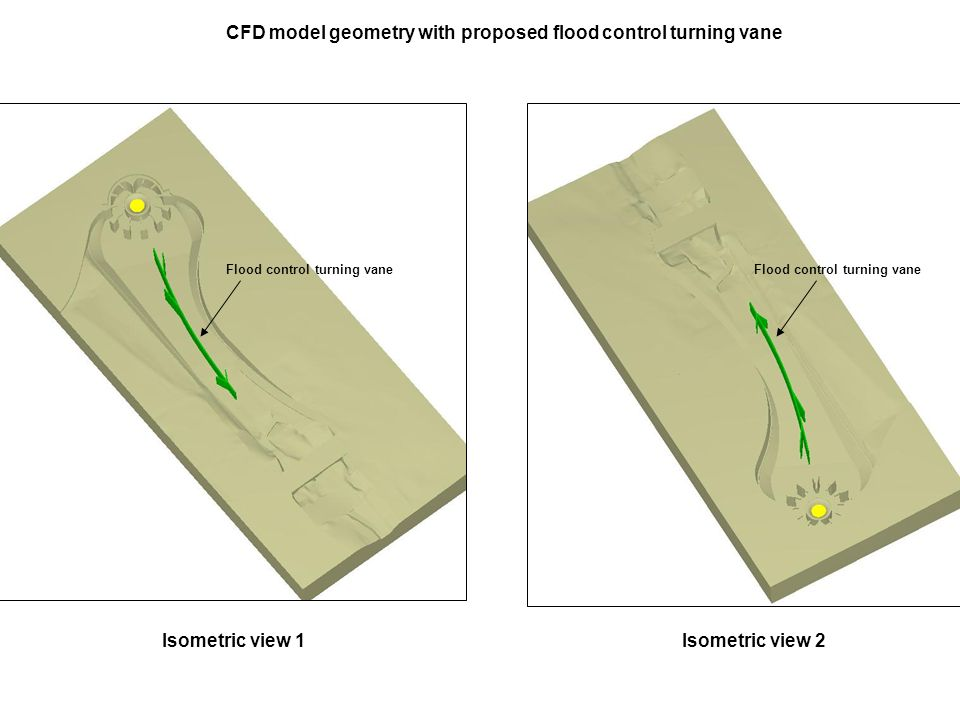 CFD model geometry with proposed flood control turning vane Flood control turning vane