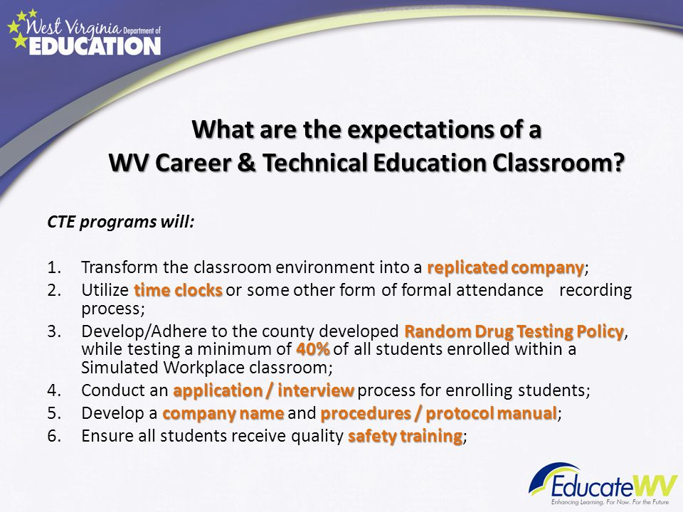 What are the expectations of a WV Career & Technical Education Classroom? CTE programs will: replicated company 1.Transform the classroom environment