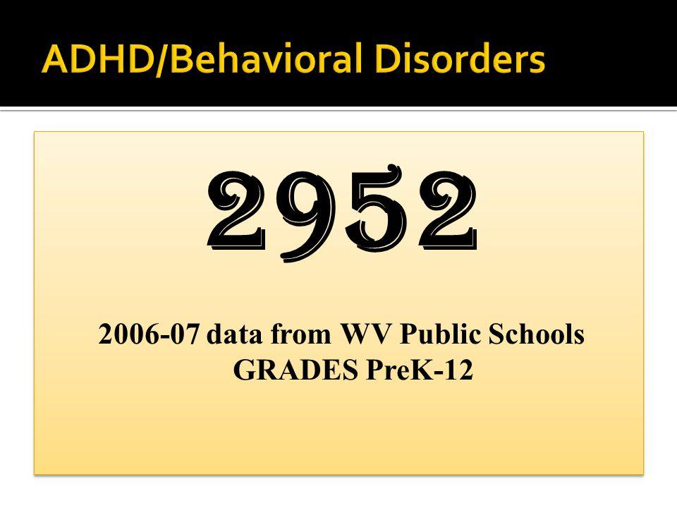 178 Type II 2006-07 data from WV Public Schools GRADES PreK-12 (102 in grades 9-12)