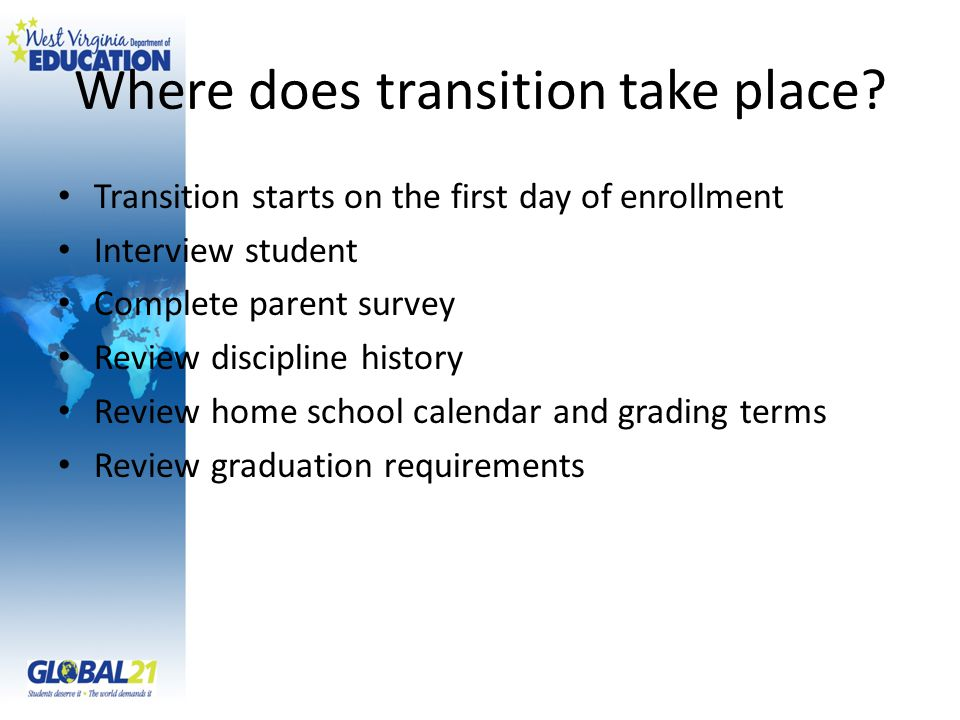 Where does transition take place? Transition starts on the first day of enrollment Interview student Complete parent survey Review discipline history
