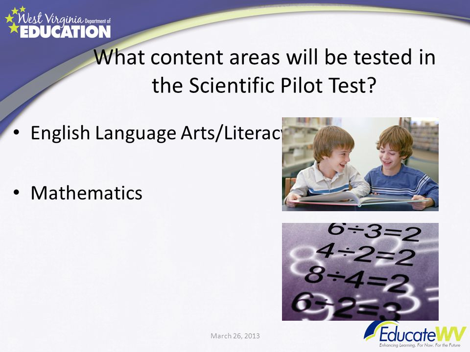 What content areas will be tested in the Scientific Pilot Test.