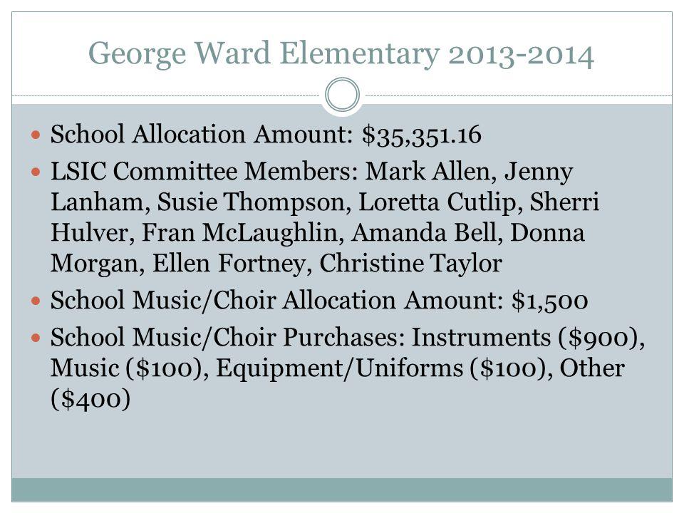 George Ward Elementary 2013-2014 School Allocation Amount: $35,351.16 LSIC Committee Members: Mark Allen, Jenny Lanham, Susie Thompson, Loretta Cutlip, Sherri Hulver, Fran McLaughlin, Amanda Bell, Donna Morgan, Ellen Fortney, Christine Taylor School Music/Choir Allocation Amount: $1,500 School Music/Choir Purchases: Instruments ($900), Music ($100), Equipment/Uniforms ($100), Other ($400)