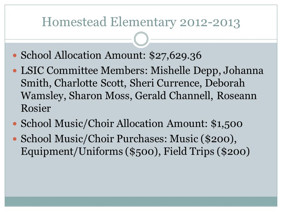 Homestead Elementary 2012-2013