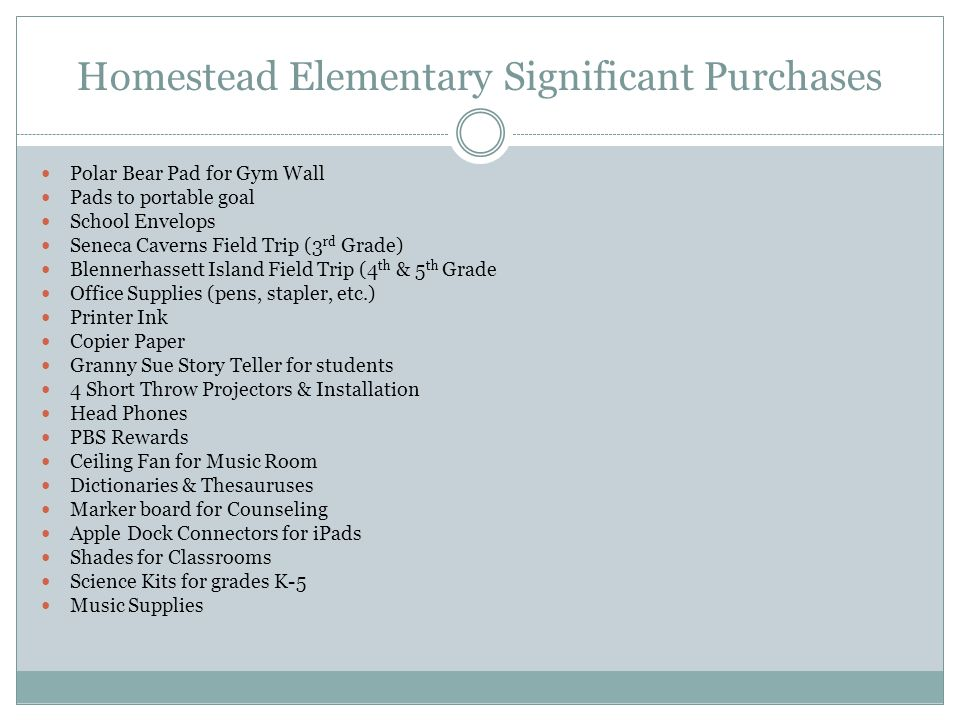 Homestead Elementary 2013-2014 School Allocation Amount: $27,629.36 LSIC Committee Members: Jennifer Worley, Sarah Hevener-Murray, Michelle Depp, Johanna Smith, Gerald Channell, Lisa Wamsley, Christine Malcomb, Roseann Rosier, Kitty Galford, Shauna Mason School Music/Choir Allocation Amount: $1,500 School Music/Choir Purchases: Instruments ($500), Music ($500), Equipment/Uniforms ($500)