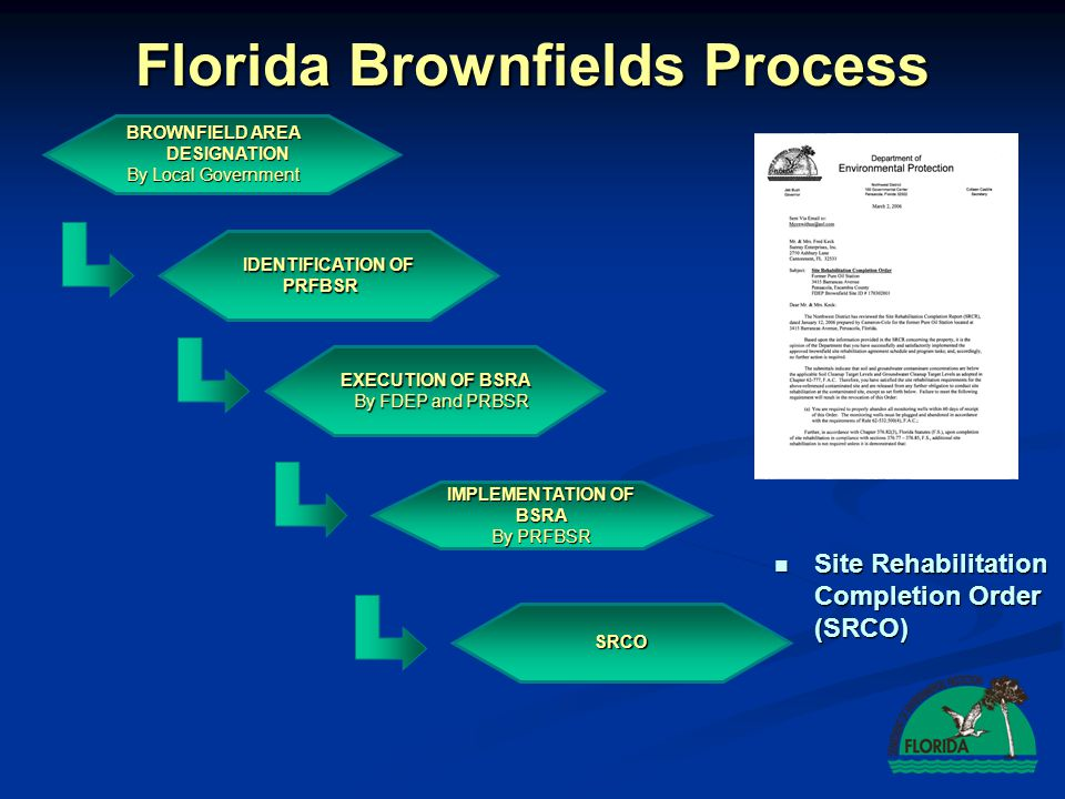 Florida Brownfields Process IDENTIFICATION OF PRFBSR EXECUTION OF BSRA By FDEP and PRBSR SRCO IMPLEMENTATION OF BSRA By PRFBSR Site Rehabilitation Com
