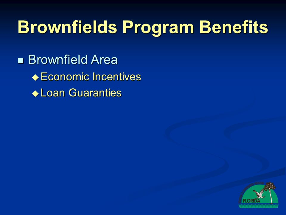 Brownfield Area Brownfield Area  Economic Incentives  Loan Guaranties