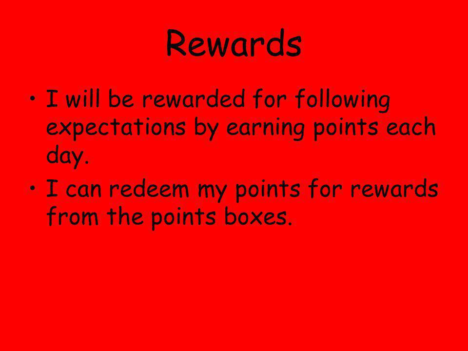 Rewards I will be rewarded for following expectations by earning points each day. I can redeem my points for rewards from the points boxes.