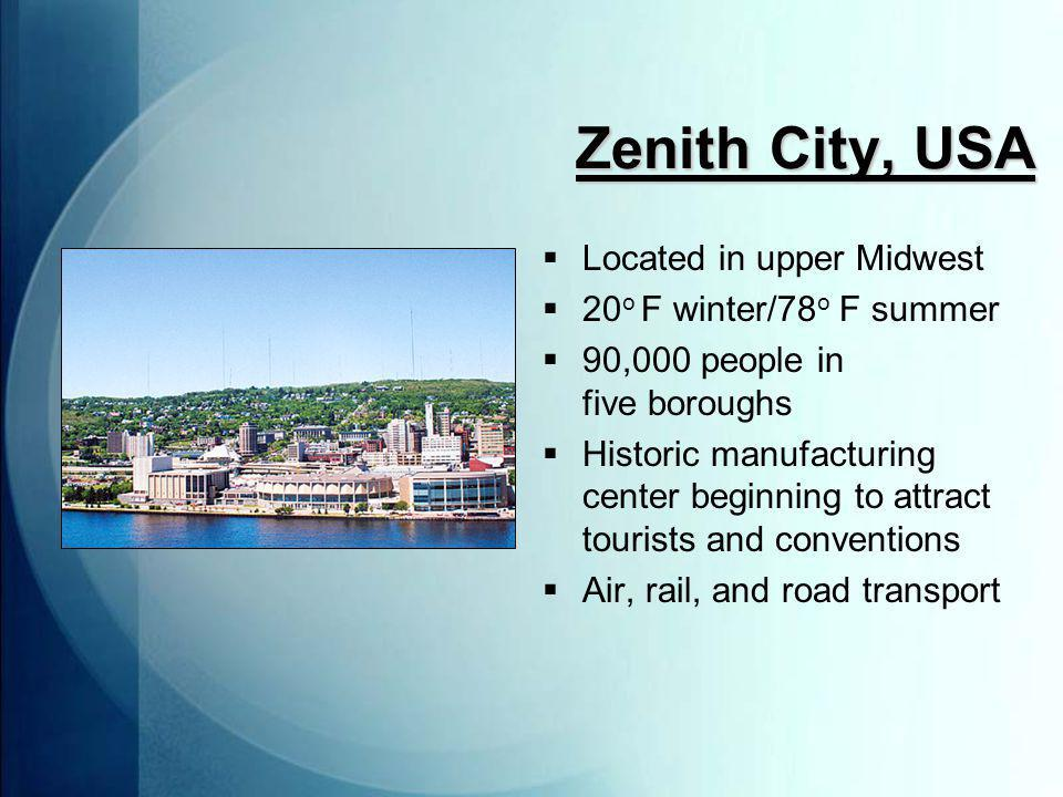 Zenith City, USA  Located in upper Midwest  20 o F winter/78 o F summer  90,000 people in five boroughs  Historic manufacturing center beginning to attract tourists and conventions  Air, rail, and road transport