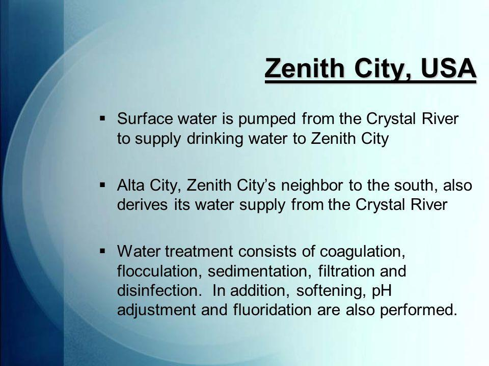 Zenith City, USA  Pumping stations have capacity of 5 MGD, and system can store up to 3 MG  4 supply wells, 4 storage tanks, and 130 miles of distribution pipeline  Many homes and businesses lack backflow prevention valves.
