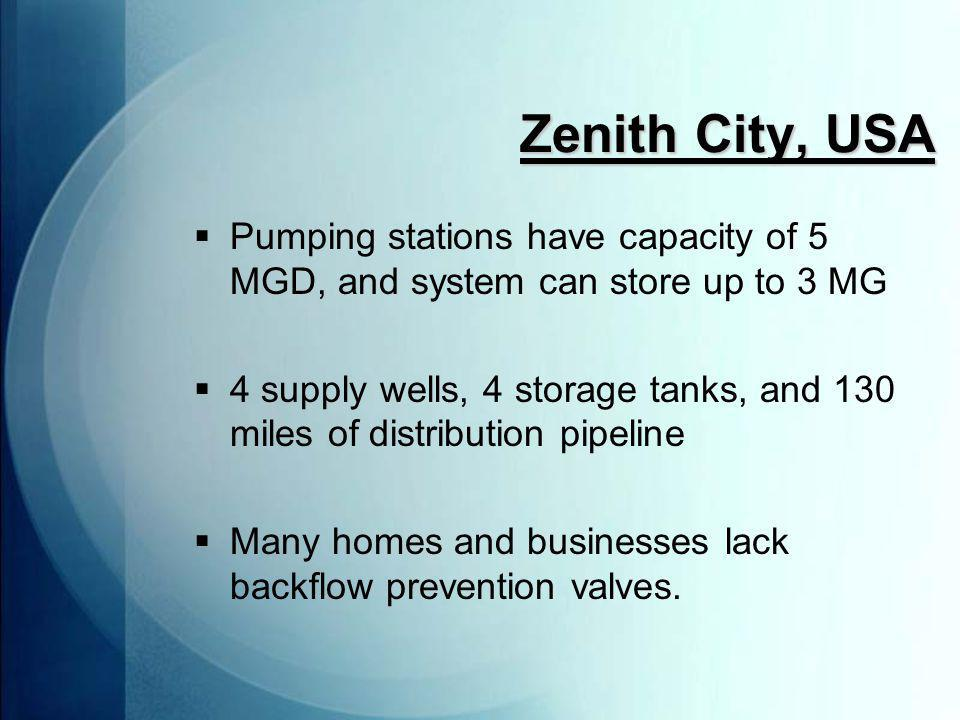 Zenith City, USA  Pumping stations have capacity of 5 MGD, and system can store up to 3 MG  4 supply wells, 4 storage tanks, and 130 miles of distribution pipeline  Many homes and businesses lack backflow prevention valves.