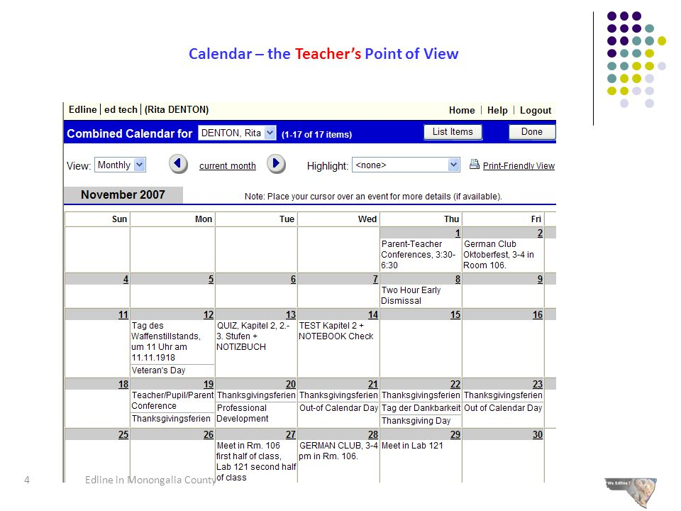 Calendar – the Teacher's Point of View 4Edline in Monongalia County