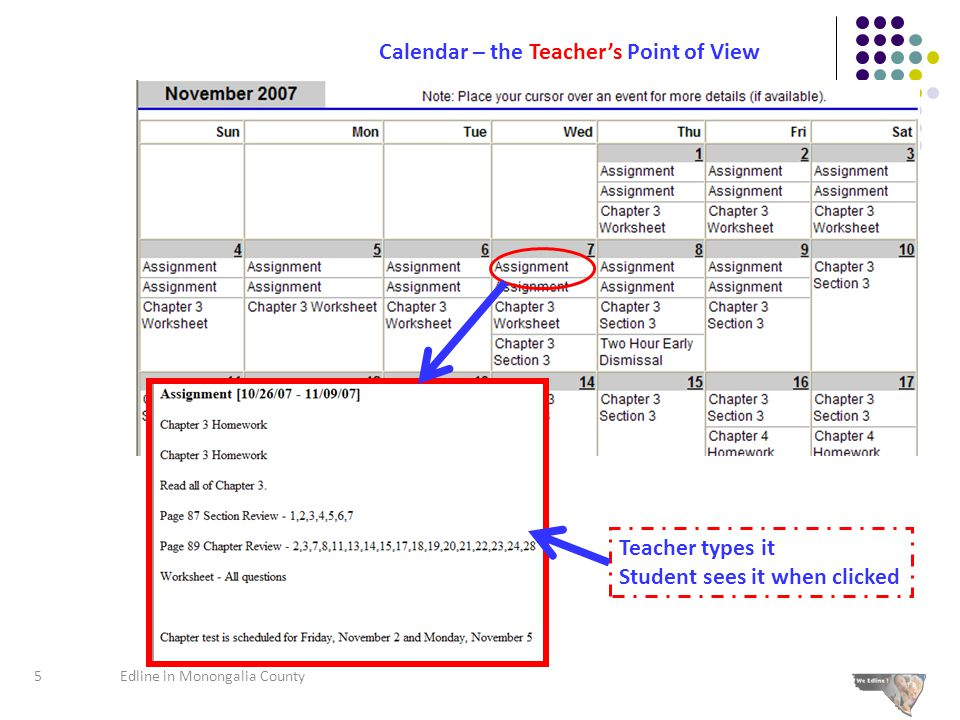 Calendar – the Student and Parent's Point of View 6Edline in Monongalia County