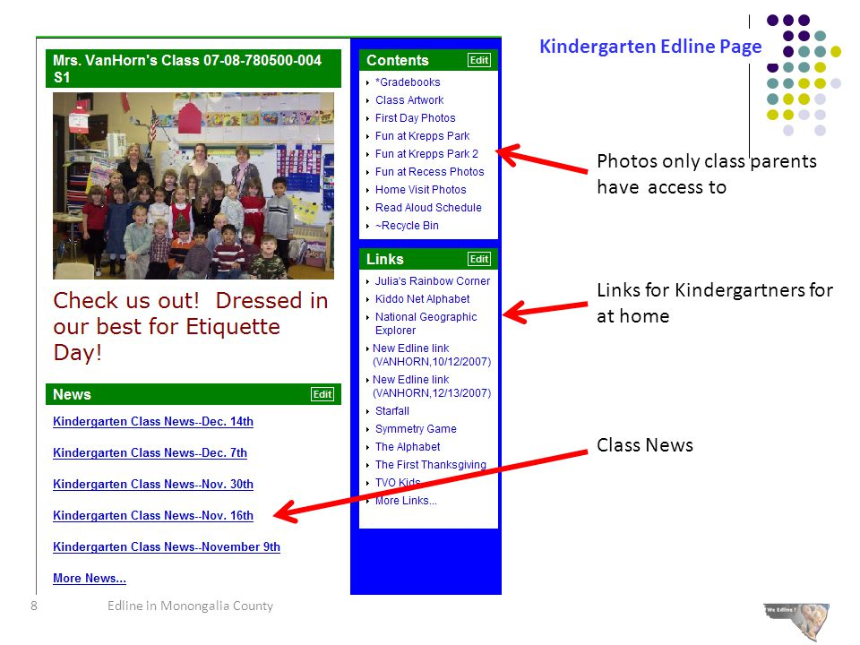 Photos only class parents have access to Links for Kindergartners for at home Class News Kindergarten Edline Page 8Edline in Monongalia County